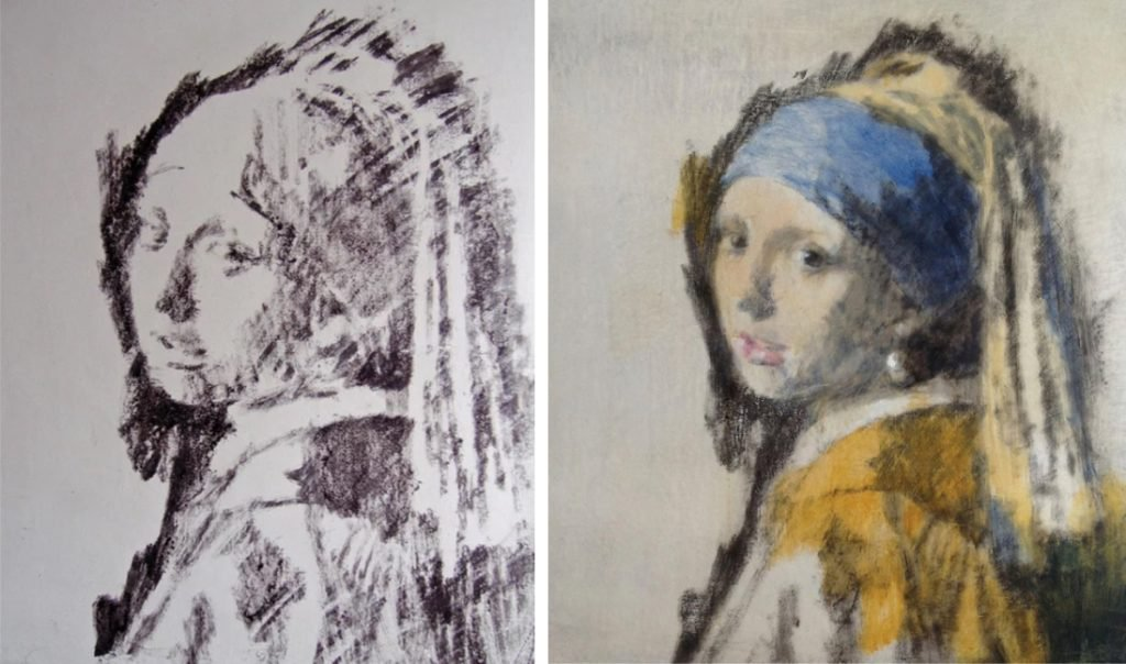 L: Jane Jelley made this print based on Johannes Vermeer's Girl With a Pearl Earring using a camera obscura, as part of the research for her new book Traces of Vermeer (2017). R: Jelley added color to the print, based on Vermeer's original. Images courtesy of Oxford University Press.