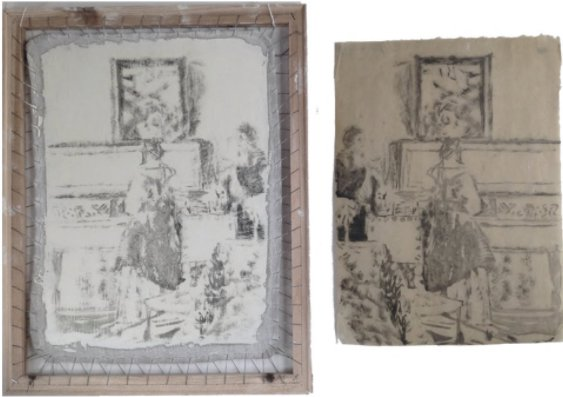 Jane Jelley devised a mean of making prints from a tracing made using a camera obscura, as part of the research for her new book Traces of Vermeer (2017). Courtesy of Oxford University Press.